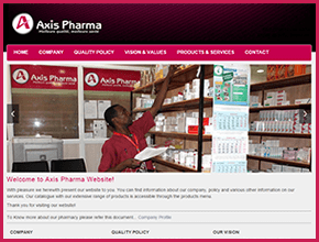 Axis Pharma Burundi Website