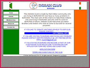 Indian Club Burundi website